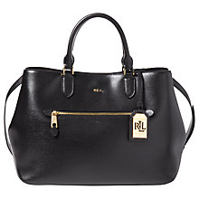 Buy Lauren Ralph Lauren Saffiano Sabine Satchel Bag, Black Online at johnlewis.com