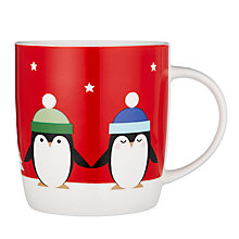 Buy John Lewis Penguins Porcelain Mug In A Money Box Tin, Red/White, 350ml Online at johnlewis.com
