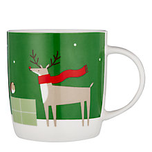 Buy John Lewis Reindeer Porcelain Mug In A Money Box Tin, Green/White, 350ml Online at johnlewis.com
