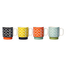 Buy Orla Kiely Raised Linear Stem Stacking Mugs, Set of 4, Multi, 330ml Online at johnlewis.com