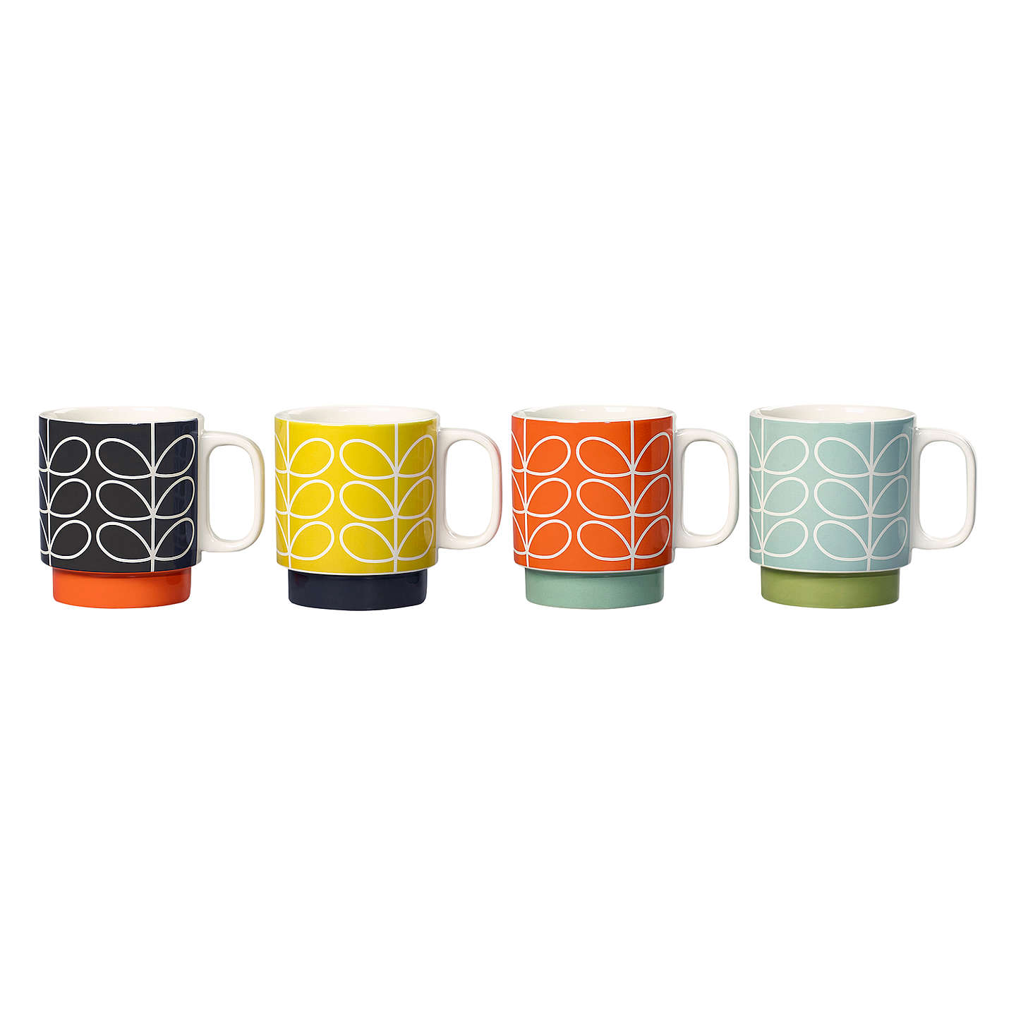 BuyOrla Kiely Raised Linear Stem Stacking Mugs, Set of 4, Multi, 330ml Online at johnlewis.com