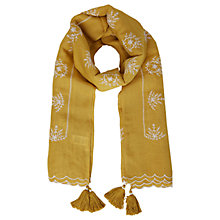Buy White Stuff Tribal Embroidered Scarf, Yellow Online at johnlewis.com