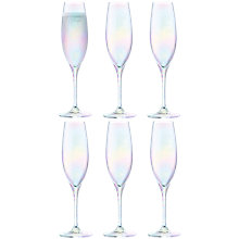 Buy LSA International Polka Mother of Pearl Champagne Flute, Set of 6, Clear/Multi, 225ml Online at johnlewis.com