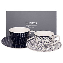 Buy Tokyo Design Studio Cup and Saucer, Set of 2, Mulberry/White Online at johnlewis.com