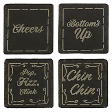 Buy Just Slate Etched Drink Coasters, Set of 4, Black Online at johnlewis.com