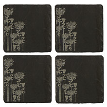 Buy Just Slate Botanical Etched Coasters, Set of 4, Black Online at johnlewis.com