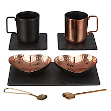 Buy Just Slate Heart Copper Serving and Coffee Cup Gift Set Online at johnlewis.com