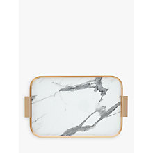 Buy Kaymet Ribbed 70th Anniversary Marble Effect Tray, White/Gold Online at johnlewis.com