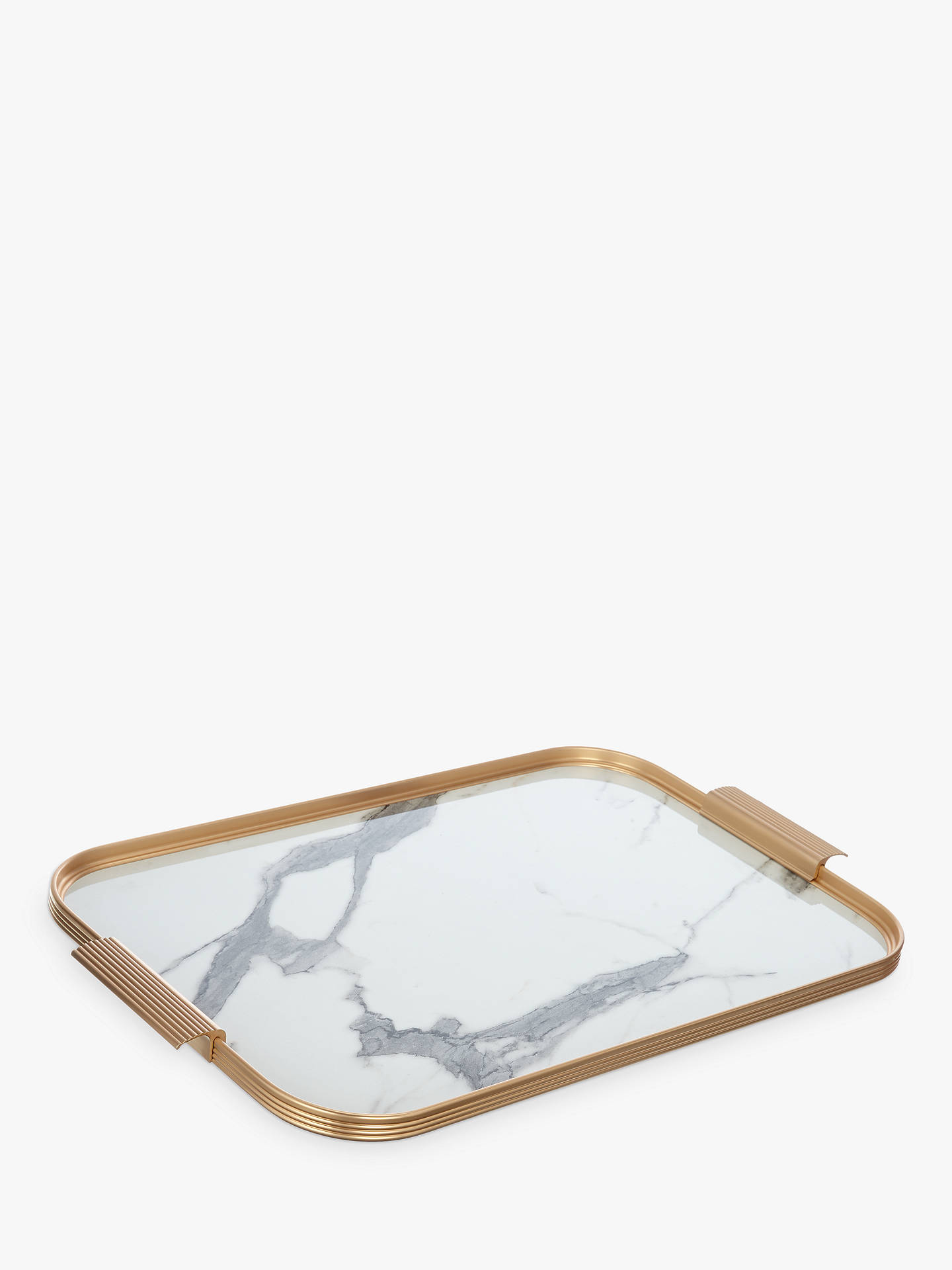 Buy Kaymet Ribbed 70th Anniversary Marble Effect Tray, Gold/White Online at johnlewis.com