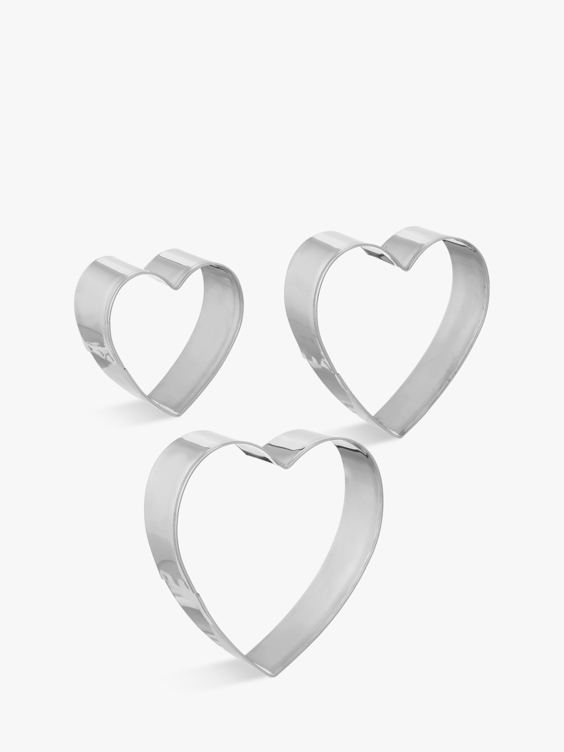 09e15f9484 John Lewis & Partners Stainless Steel Heart Cookie Cutters, Set of 3 at  John Lewis & Partners