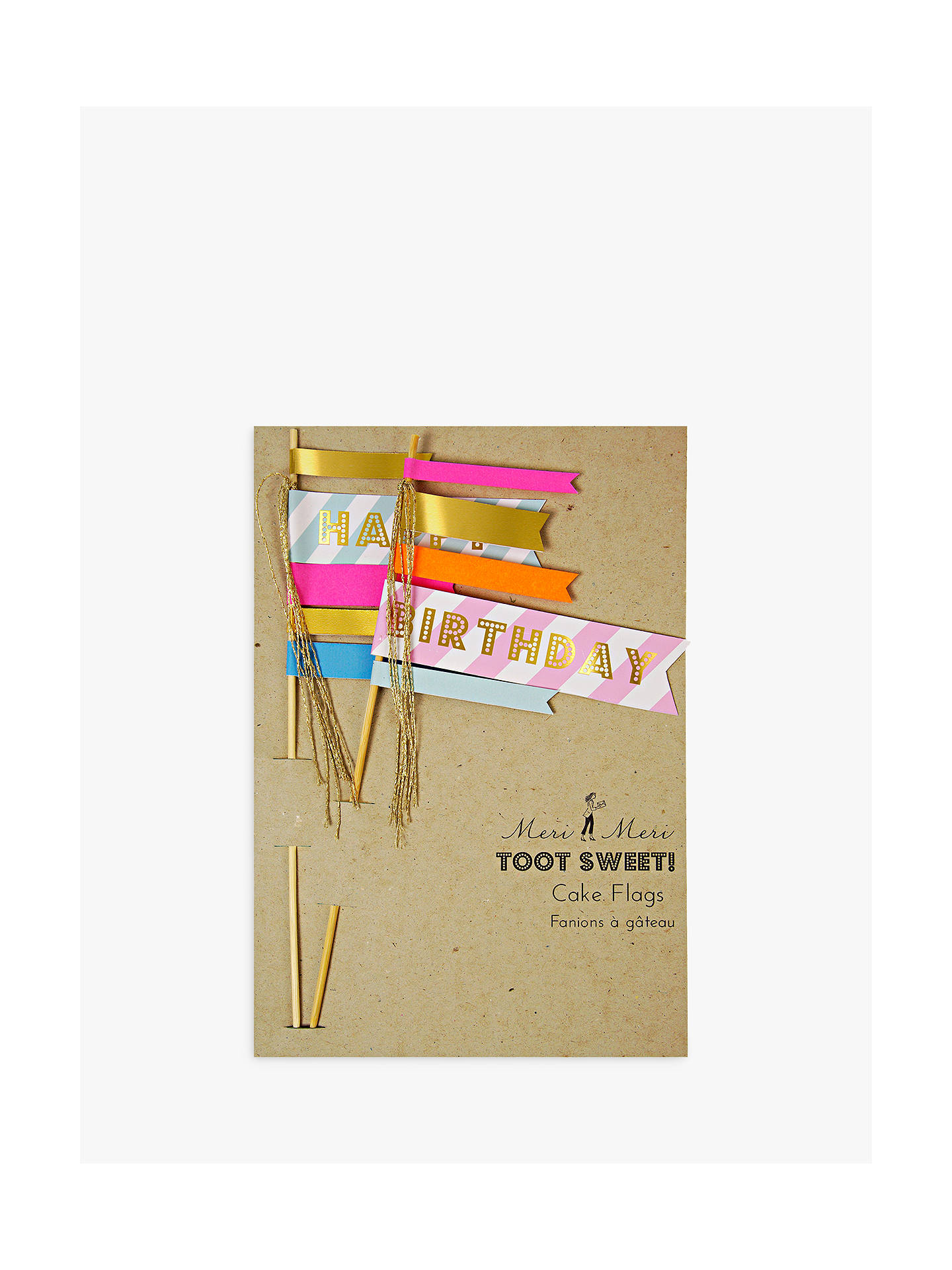 Meri Meri Toot Sweet Happy Birthday Flag Cake Toppers Set Of 2 At John Lewis Partners