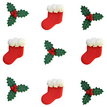 Buy Creative Party Sugarcraft Christmas Stocking and Holly Cake Toppers, Pack of 9 Online at johnlewis.com