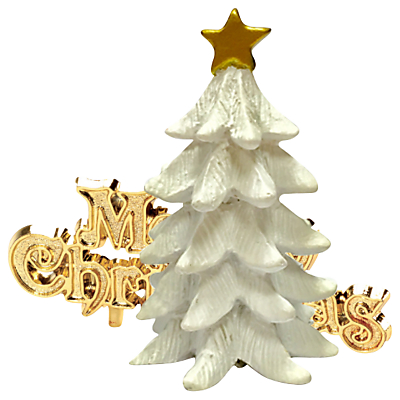 Product photo of John lewis highland myths merry christmas white tree cake topper