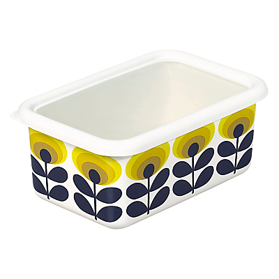 Orla Kiely Medium Flower Oval Enamel Container, White/Multi, 950ml