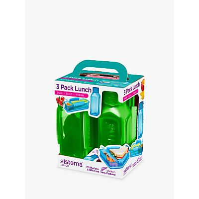 Sistema Lunch Box and Water Bottle Set, 3 Pieces, Assorted