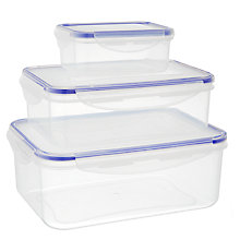 Buy Waitrose Rectangular Storage Containers, Set of 3, Clear Online at johnlewis.com