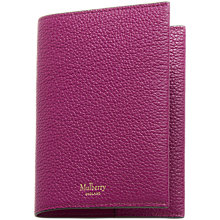 Buy Mulberry Natural Grain Leather Passport Cover, Violet Online at johnlewis.com