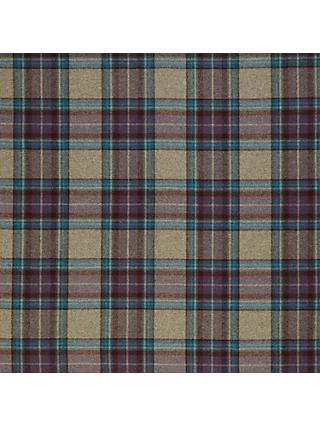 Moon Wool Check Plum Twill Fabric, Price Band E