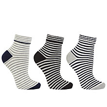 Buy John Lewis Turn Over Stripe Ankle Socks, Multi Online at johnlewis.com