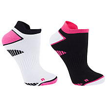 Buy John Lewis Sports Trainer Socks, Pack of 2, Black/Neon Pink Online at johnlewis.com