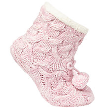 Buy John Lewis Cable Knitted Bootie Socks, Pastel Pink/Cream Online at johnlewis.com