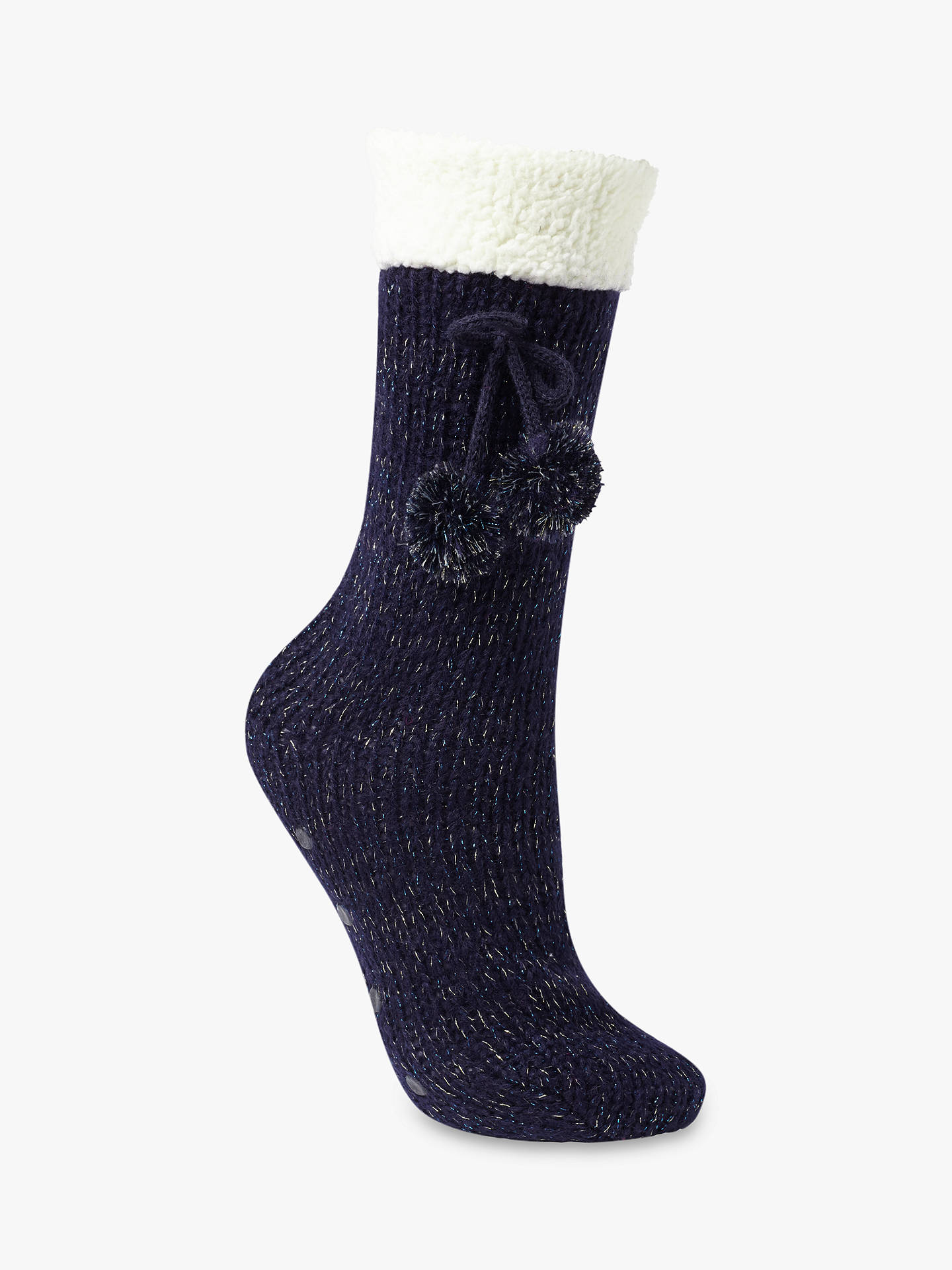 John Lewis Partners Metallic Knitted Slipper Socks Navycream At