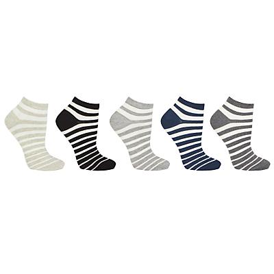 Image of John Lewis & Partners Cotton Blend Stripe Ankle Socks, White/Multi