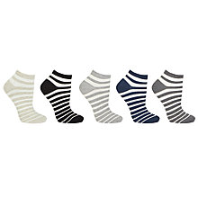Buy John Lewis Cotton Blend Stripe Ankle Socks, White/Multi Online at johnlewis.com