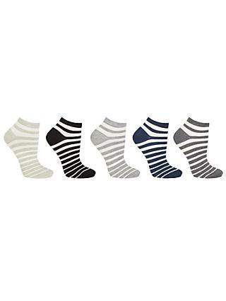 b1f75839be915 John Lewis & Partners Cotton Blend Stripe Ankle Socks, White/Multi