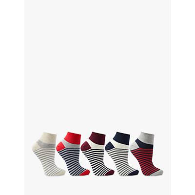 Product photo of John lewis stripe trainer liner socks pack of 5 multi