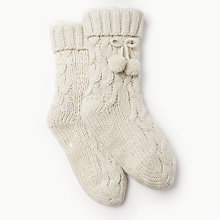 Buy John Lewis Cable Knitted Bootie Socks, Cream Online at johnlewis.com