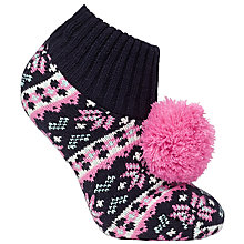 Buy John Lewis Fair Isle Bobble Knitted Ankle Boot Socks, Black/Pink Online at johnlewis.com