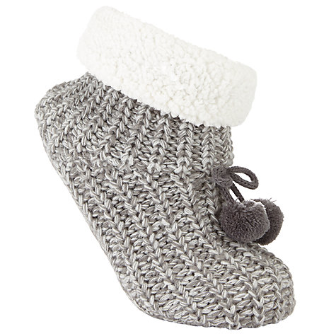Buy John Lewis Metallic Knitted Bootie Socks, Silver/Cream Online at johnlewis.com