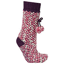 Buy John Lewis Textured Knitted Bootie Socks, Pink/Cranberry Online at johnlewis.com