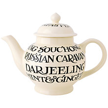 Buy Emma Bridgewater Black Toast All Over 4 Mug Teapot With Box, Black/White, 1.55L Online at johnlewis.com