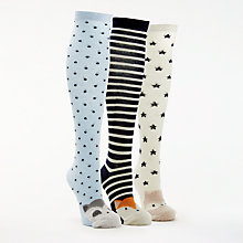 Buy John Lewis Fluffy Animal Knee Socks, Pack of 3, Blue/Multi Online at johnlewis.com