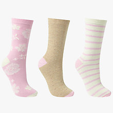 Buy John Lewis Flower Spot and Stripe Ankle Socks, Pack of 3, Multi Online at johnlewis.com