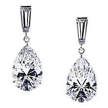 Buy CARAT* London 9ct White Gold Teardrop Drop Earrings, Clear Online at johnlewis.com