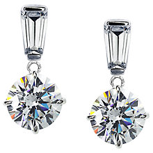 Buy CARAT* London 9ct White Gold Round Drop Earrings, Clear Online at johnlewis.com