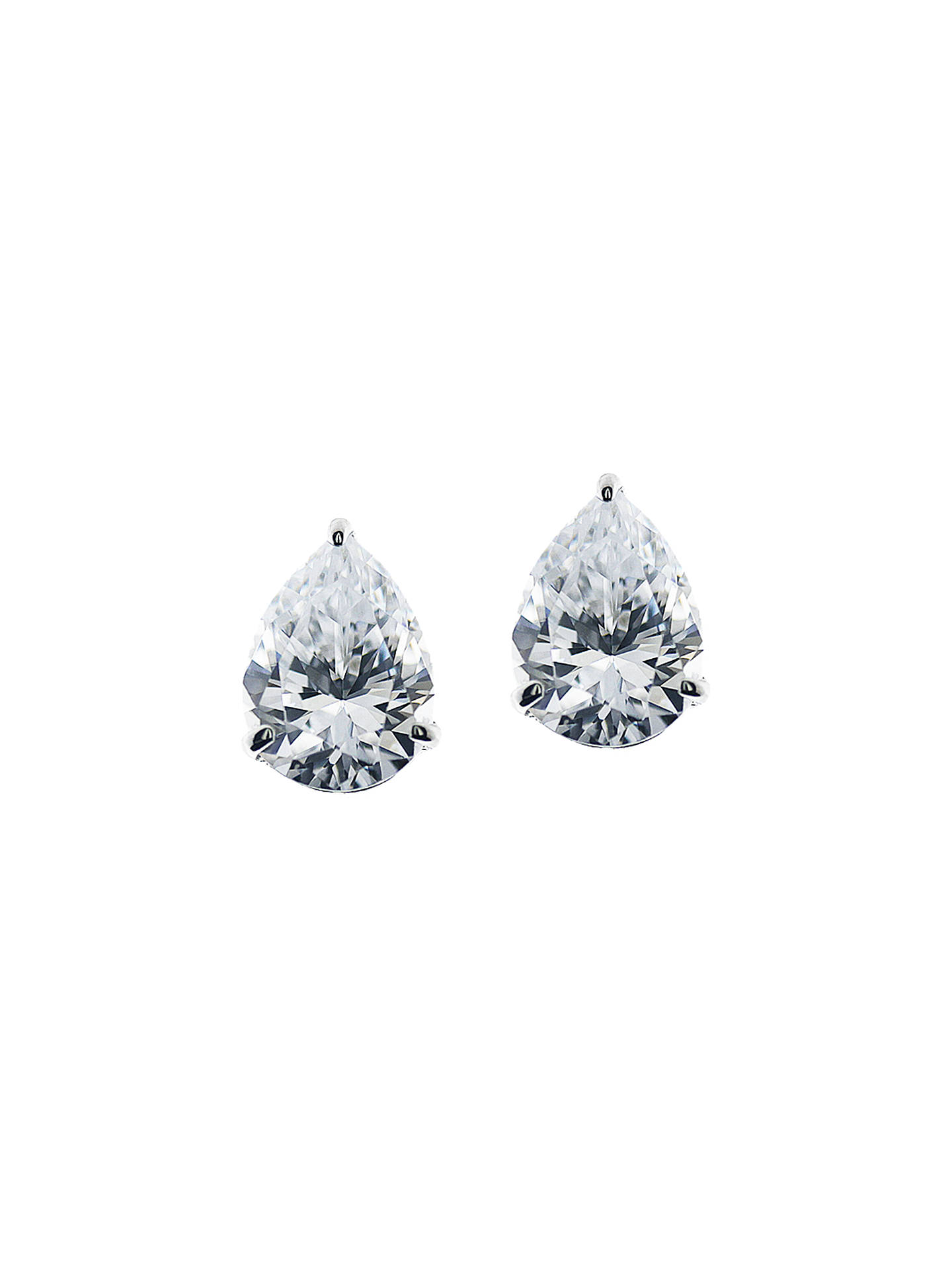 BuyCARAT* London 9ct White Gold Teardrop Stud Earrings Online at johnlewis.com