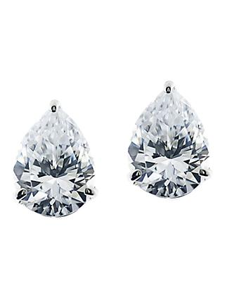 CARAT* London 9ct White Gold Teardrop Stud Earrings