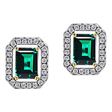 Buy CARAT* London Sterling Silver Border Stud Earrings, Clear/Green Online at johnlewis.com
