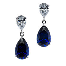 Buy CARAT* London 9ct White Gold Teardrop Drop Earrings, Sapphire Blue Online at johnlewis.com
