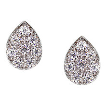 Buy CARAT* London Sterling Silver Pear Pave Stud Earrings, Silver Online at johnlewis.com