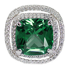 Buy CARAT* London Sterling Silver Cushion Cocktail Ring, Silver/Green Online at johnlewis.com