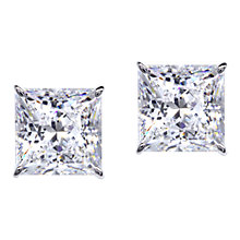 Buy CARAT* London 9ct White Gold Princess Cut Stud Earrings, Clear Online at johnlewis.com