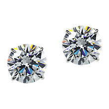 Buy CARAT* London 9ct White Gold Round Stud Earrings, Clear Online at johnlewis.com