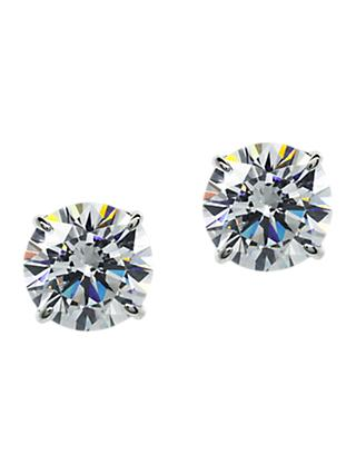 CARAT* London 9ct White Gold Round Stud Earrings, Clear