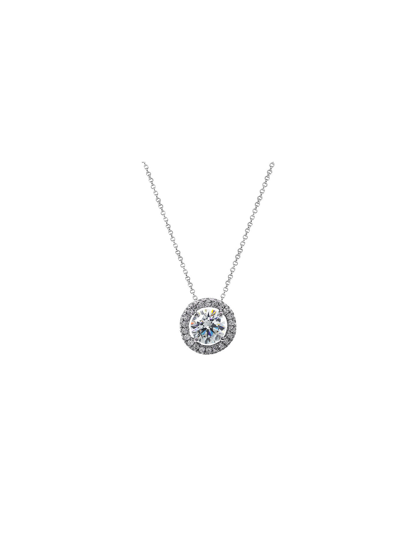 3421e136e79 Buy CARAT* London Round Border Pendant Necklace, Silver/Clear Online at  johnlewis.