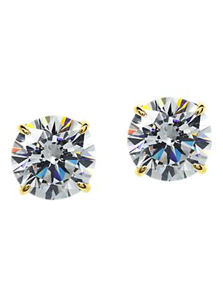 CARAT* London 9ct Gold Round Stud Earrings, Gold/Clear
